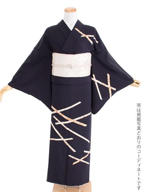 濃紺地にかずら帯紋四季花文様の訪問着(袷)