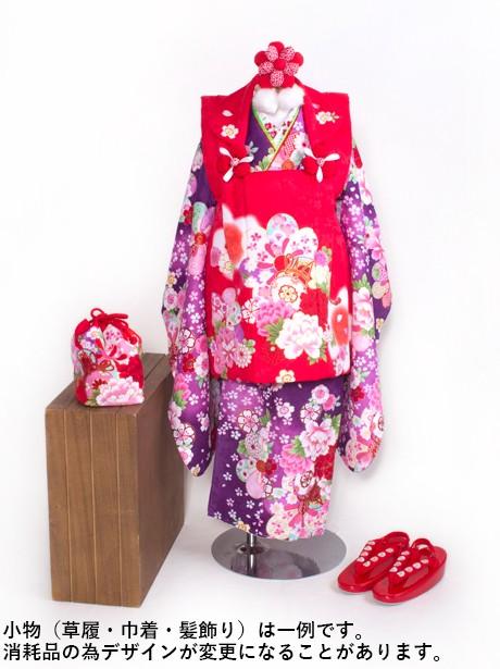 紫色に鼓とねじ梅の被布コートセット/七五三・三歳女の子