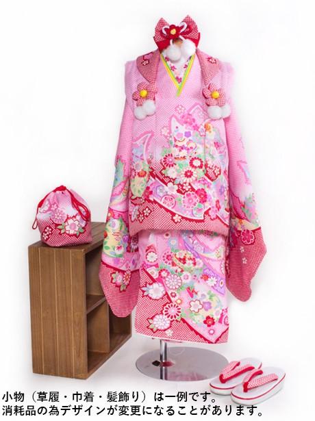 ピンクに短冊と疋田の被布コートセット/七五三・三歳女の子