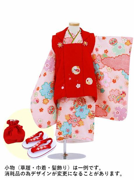 ピンクの疋田地に桜と鞠の被布コートセット/七五三・三歳女の子