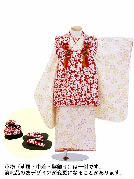 クリーム色に小花柄の被布コートセット/七五三・三歳女の子