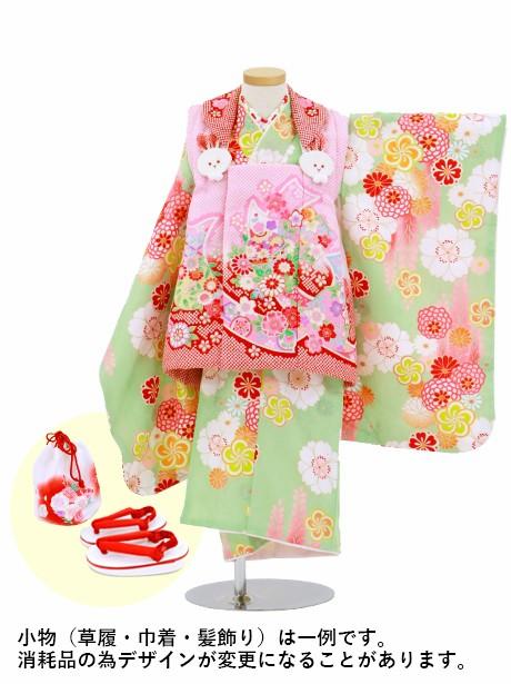 黄緑地に四季花、熨斗と鞠の被布コートセット/七五三・三歳女の子