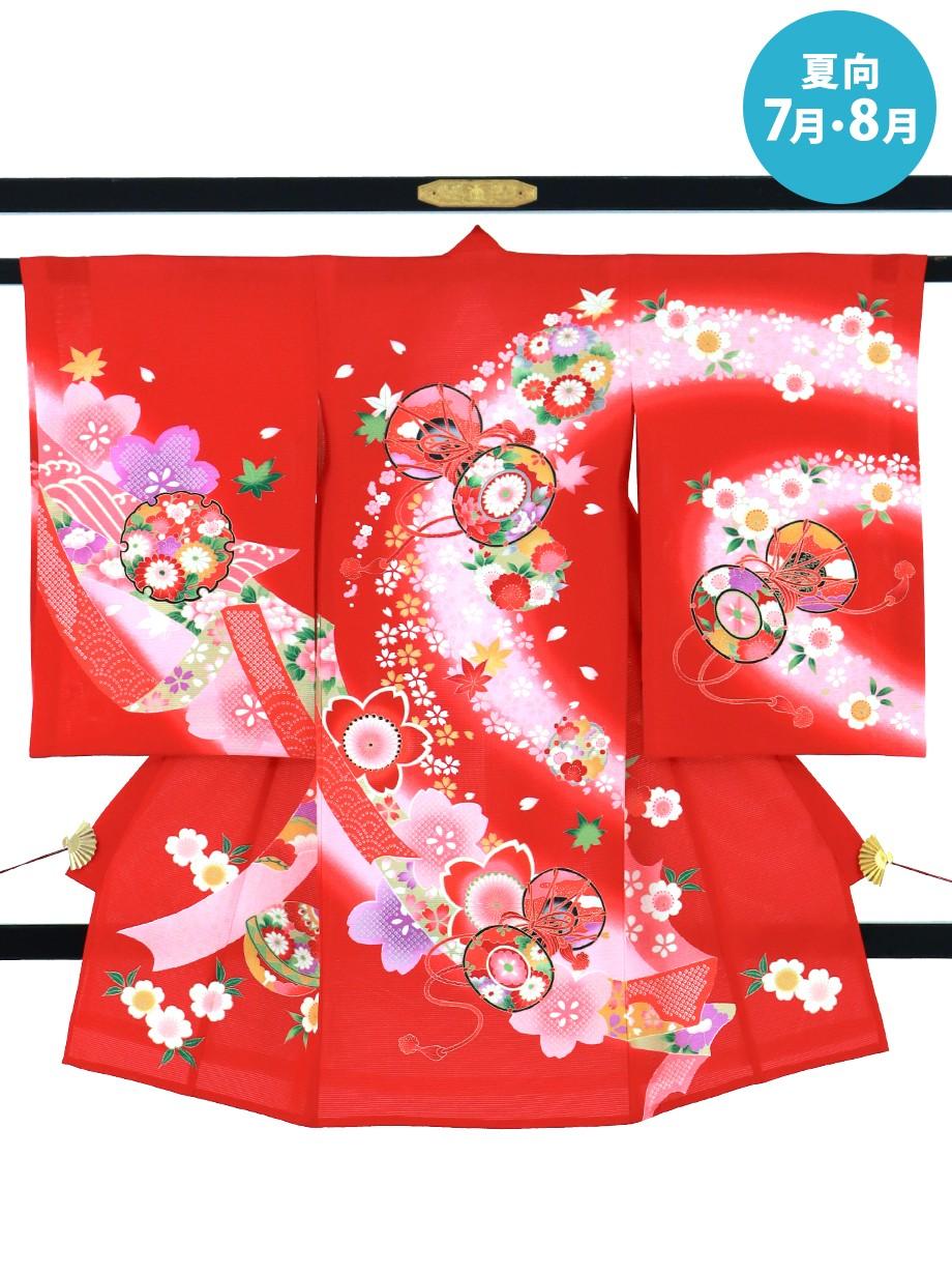 赤地に花鼓文の絽の祝い着(産着)/女児