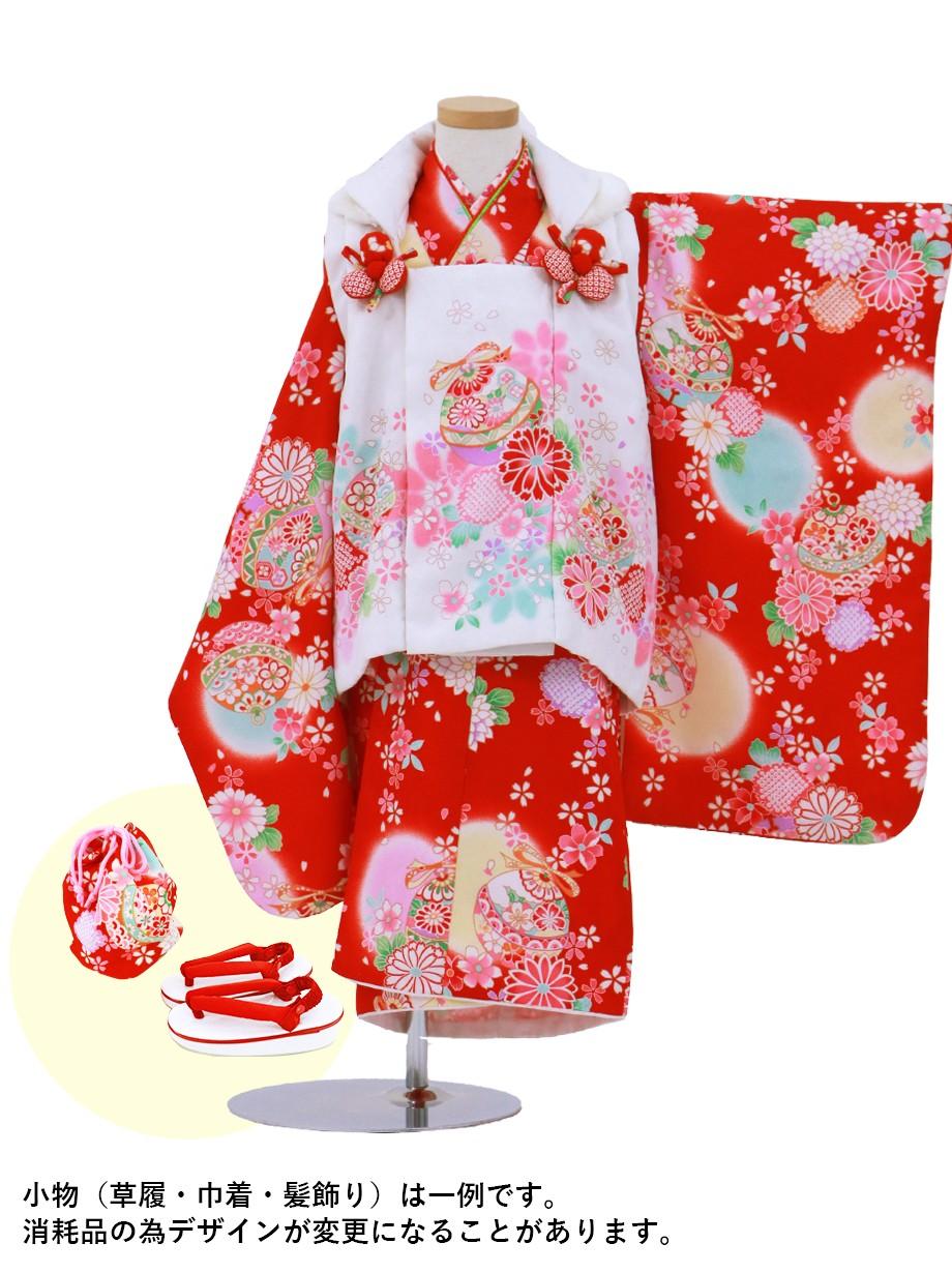 赤色に花柄と鈴の被布コートセット/七五三・三歳女の子
