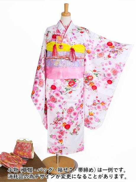 白地に花かごの着物/七五三・七歳女の子