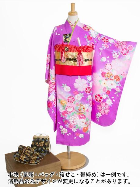 紫地に鈴と牡丹の着物/七五三・七歳女の子