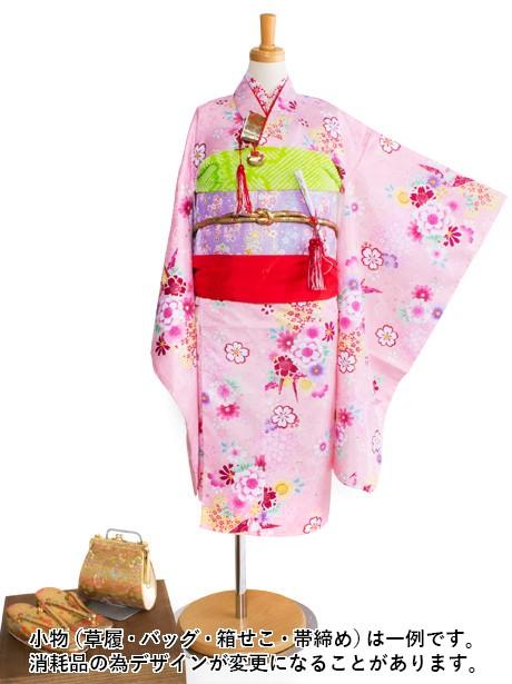 ピンク地に折鶴と桜の着物/七五三・七歳女の子