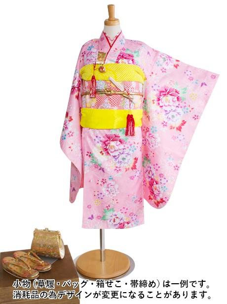 ピンクに牡丹と麻の葉の着物/七五三・七歳女の子