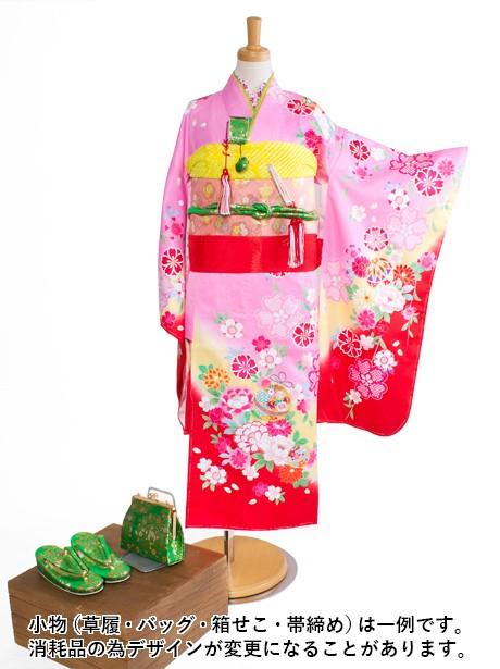 ピンクに枝垂れ桜と鈴の着物/七五三・七歳女の子