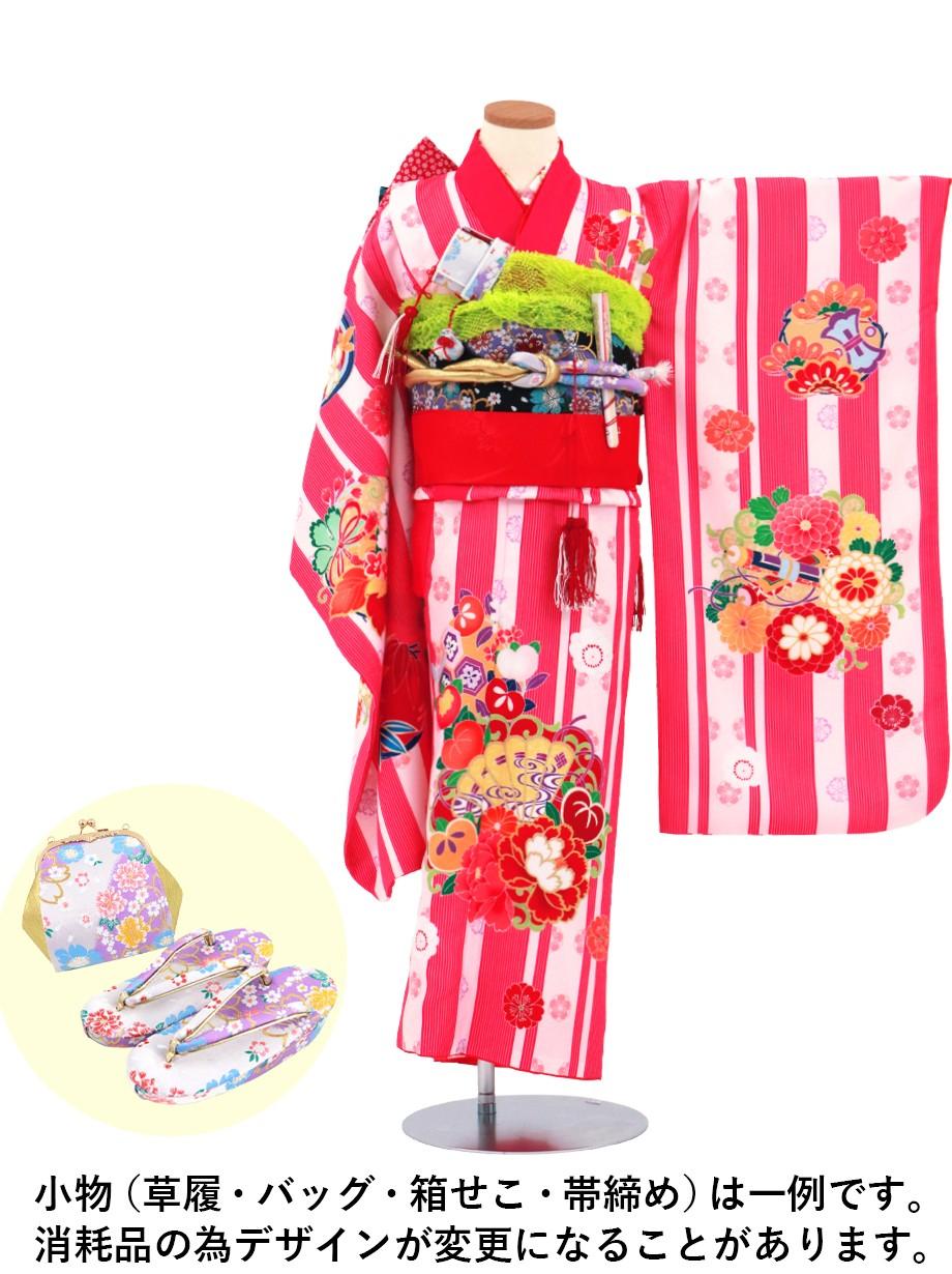 ピンクの子持ち縞に花文様の着物/七五三・七歳女の子
