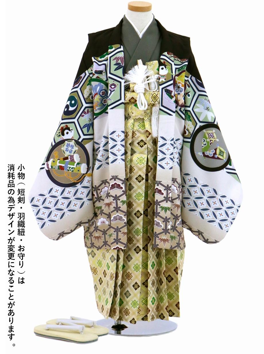 式部浪漫黒、菱の袴/七五三・五歳男の子・袴