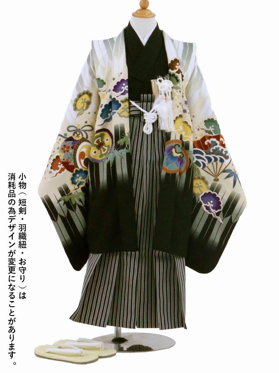 白地に矢絣と鷹、黒縞の袴/七五三・五歳男の子・袴