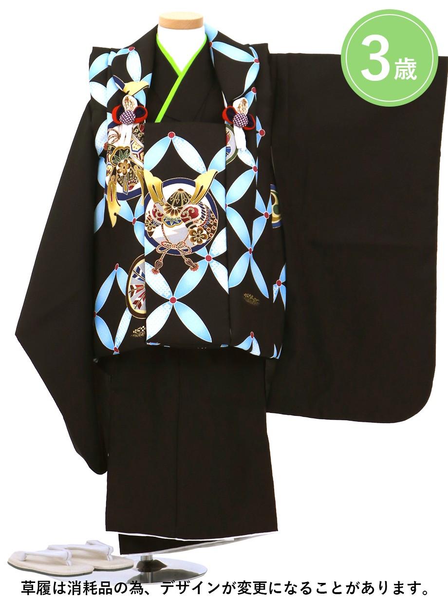 黒に七宝と兜の被布コートセット/七五三・三歳男の子・被布コートセット