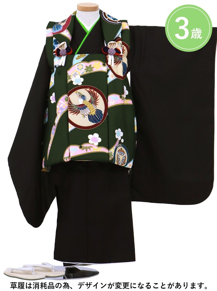 鷹紋のグリーンの被布コート・黒の着物セット/七五三・三歳男の子・被布コートセット