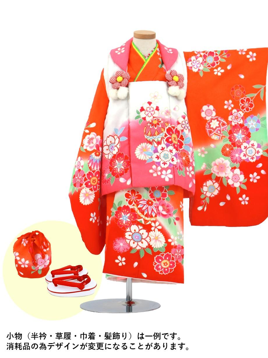 橙色に桜と鞠の被布コートセット/七五三・三歳女の子