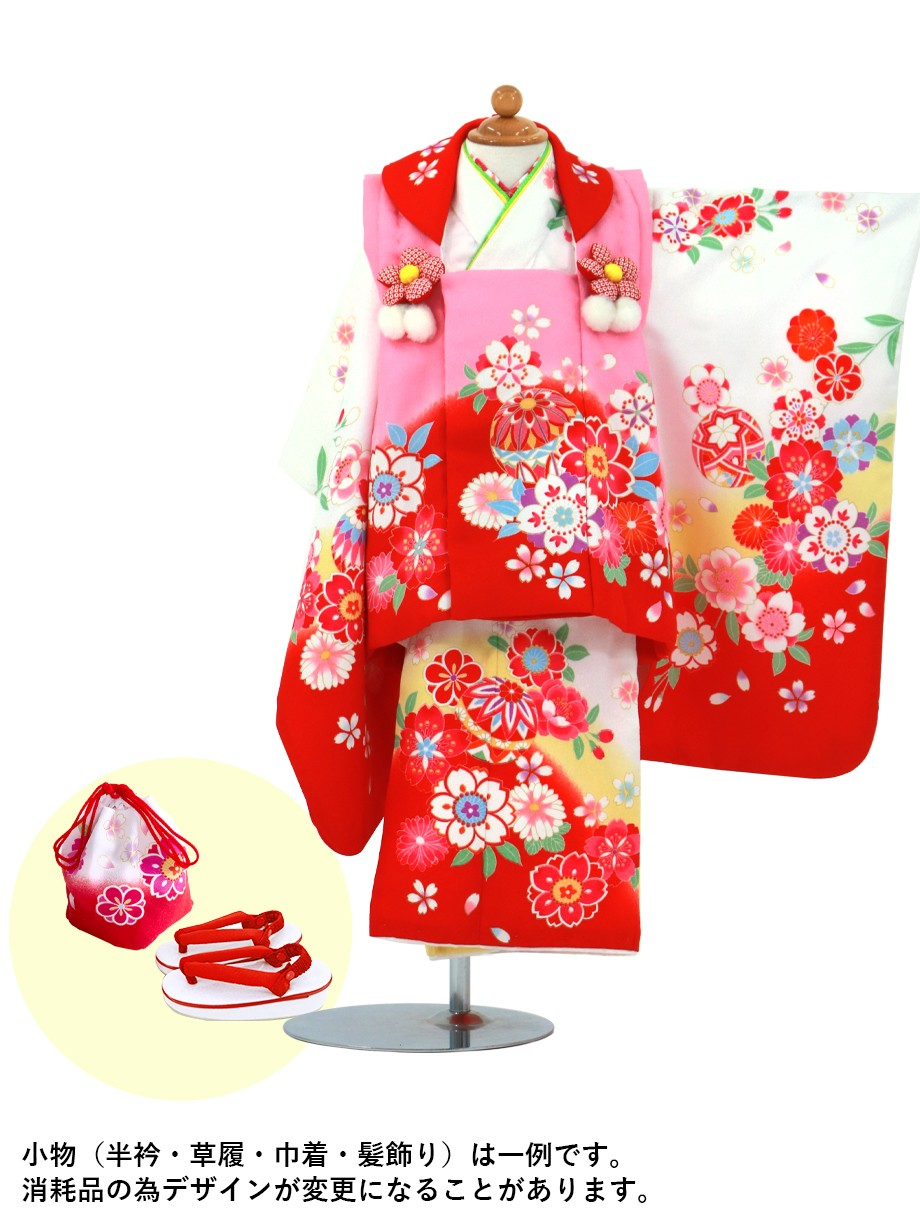 白色に桜と鞠の被布コートセット/七五三・三歳女の子