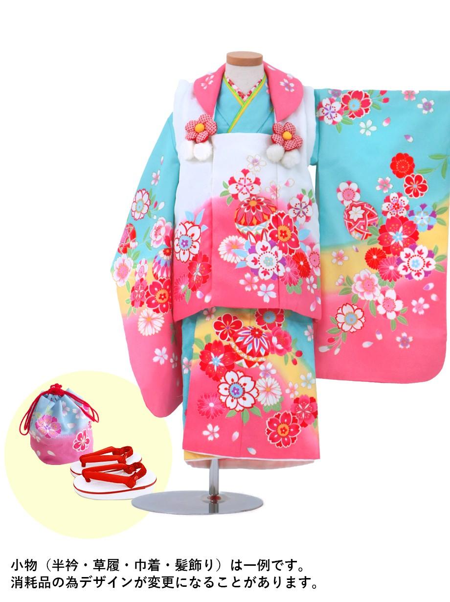 水色に桜と鞠の被布コートセット/七五三・三歳女の子