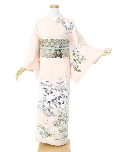 ピンク地に桜と紫陽花の訪問着(袷)