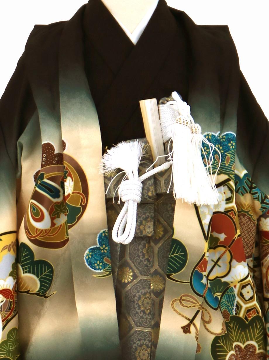 黒地に鷹や小槌、藍鼠の袴/七五三・五歳男の子・袴*