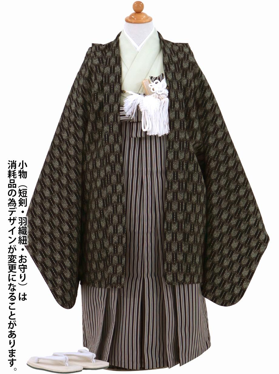 黒地に矢羽柄の羽織、黒縞の袴/七五三・五歳男の子・袴
