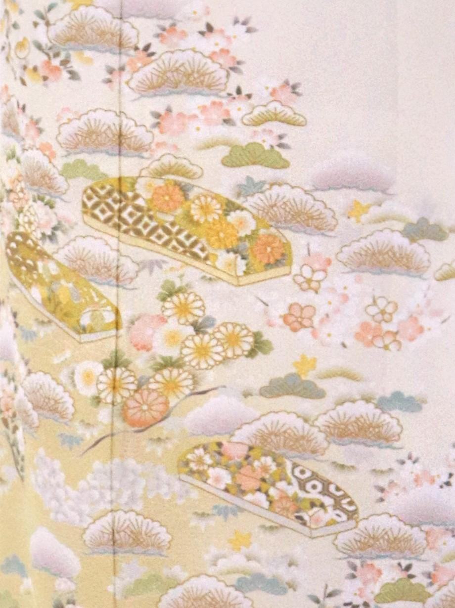 生成り色に松と文箱の訪問着(袷)