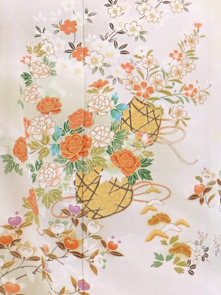 薄桃地に花籠の訪問着(袷)