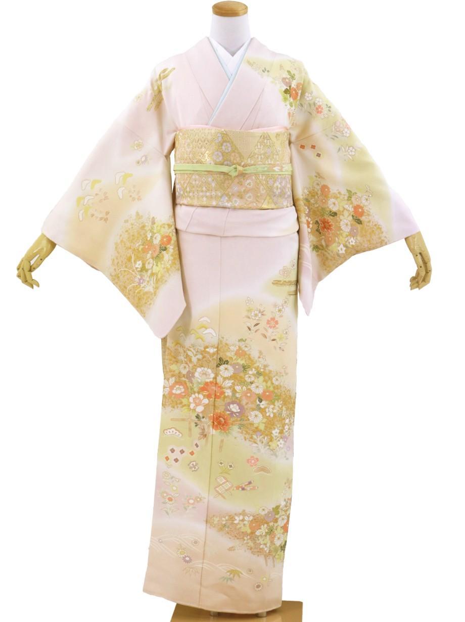 薄桜色に花垣文の訪問着(袷)