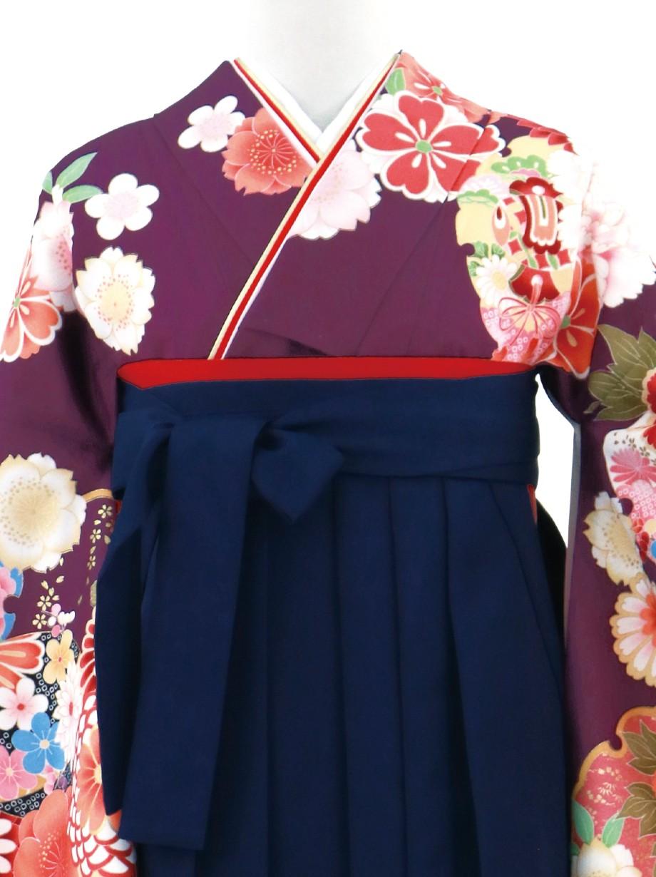 紫地に牡丹と雪輪・紺袴(無地)(二尺袖)/卒業式