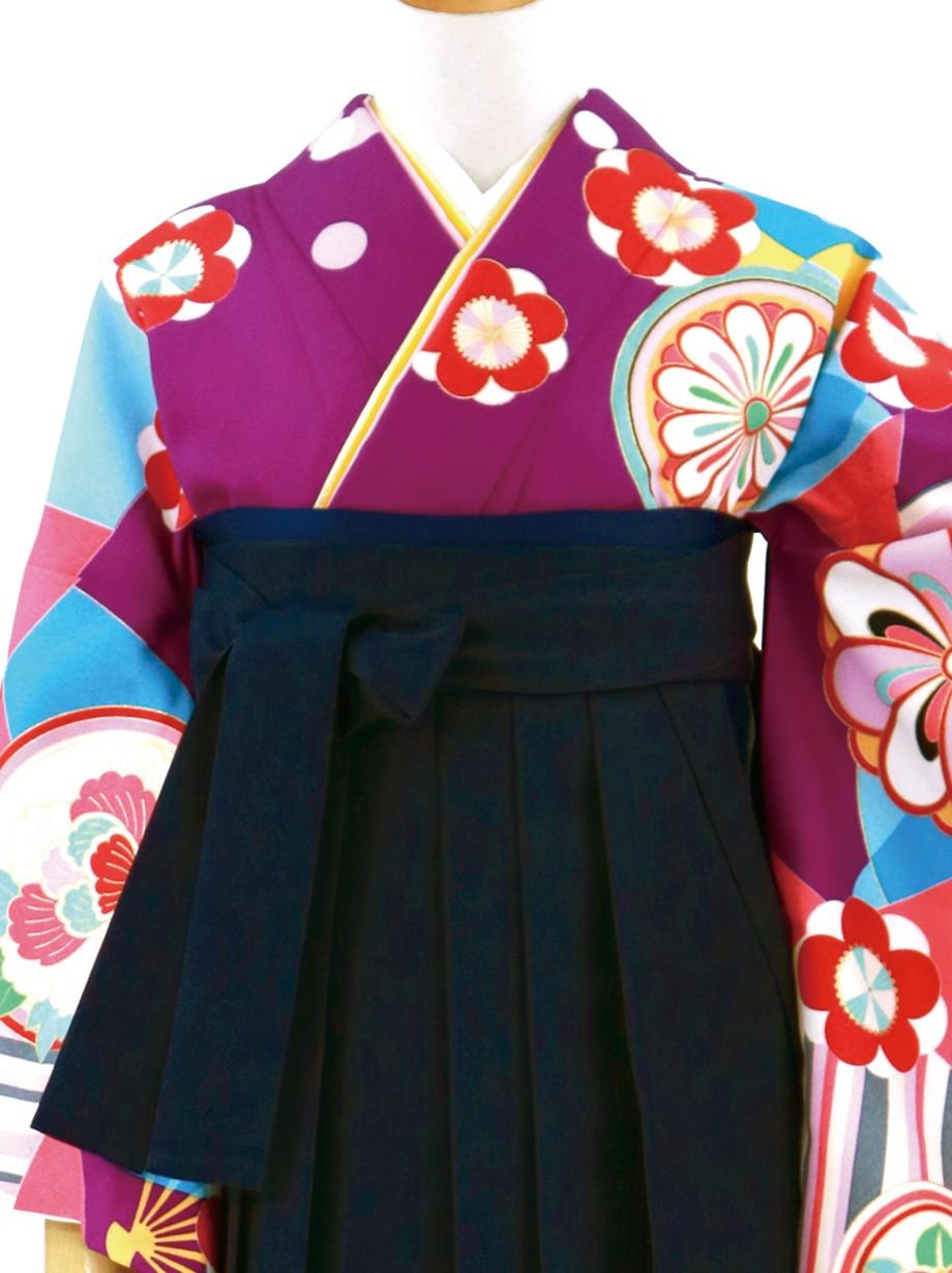 紫地にモダンな吉祥模様・紺袴(無地)(二尺袖)/卒業式