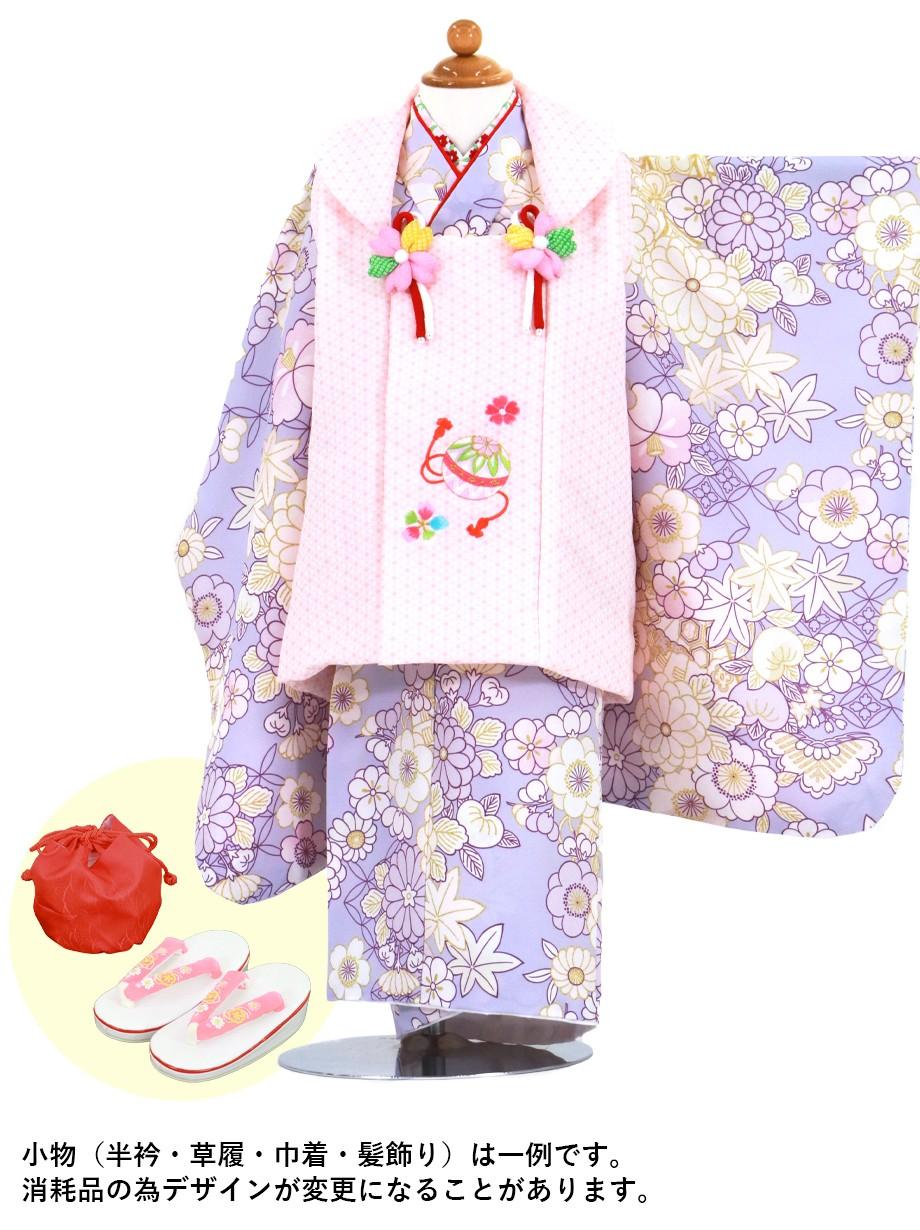 薄紫地に桜や菊、ピンクの麻の葉の被布コートセット/七五三・三歳女の子