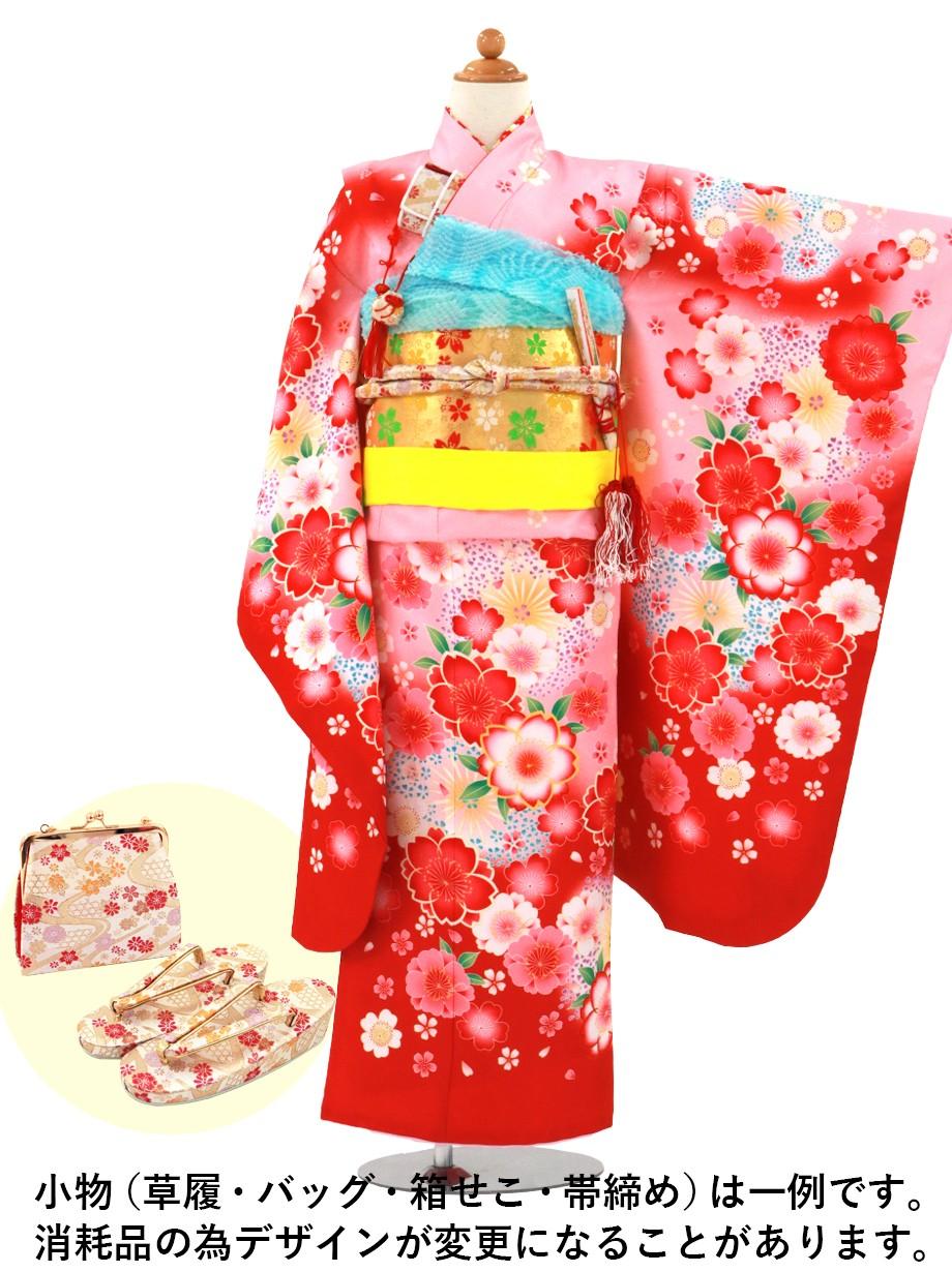 ピンクと赤の地に桜の着物/七五三・七歳女の子*
