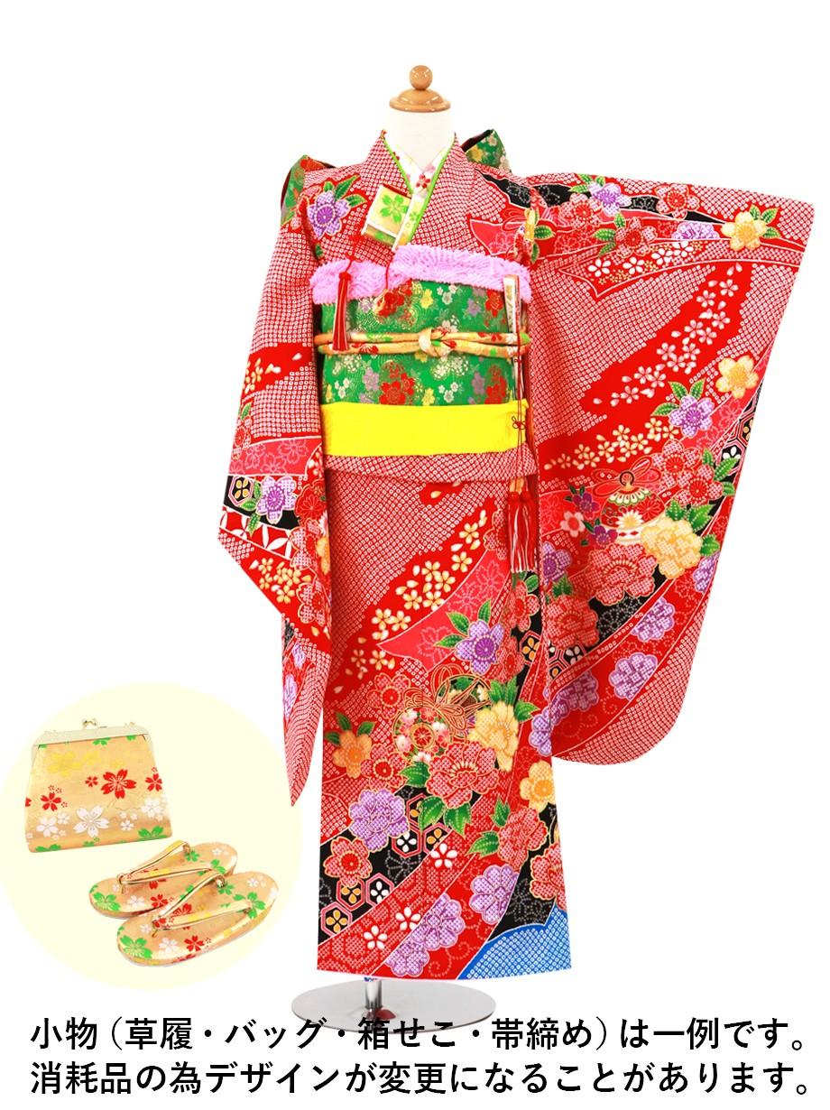 赤地に疋田(ひった)の熨斗、椿の着物/七五三・七歳女の子