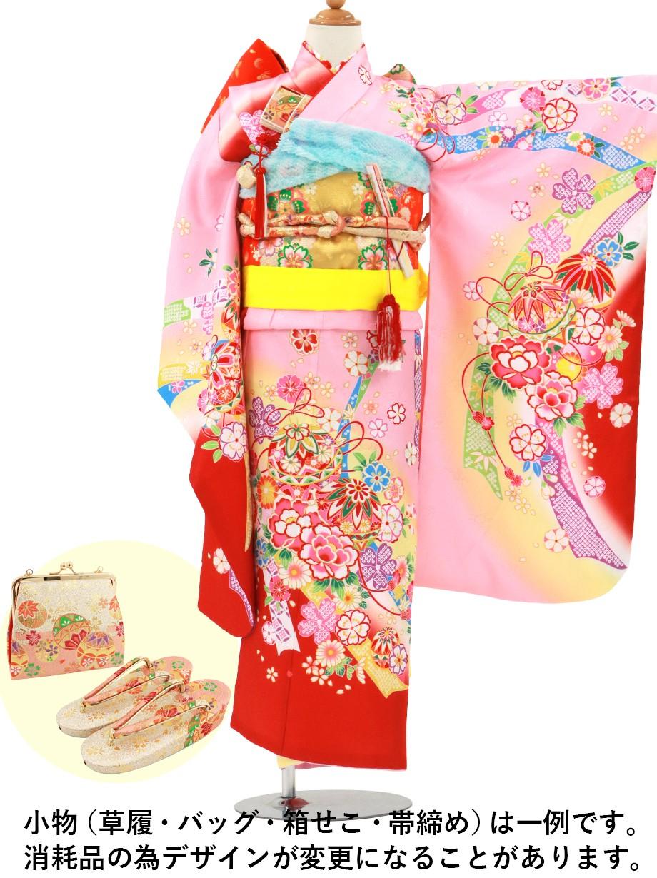 ピンク地に鞠と牡丹、熨斗の着物/七五三・七歳女の子*