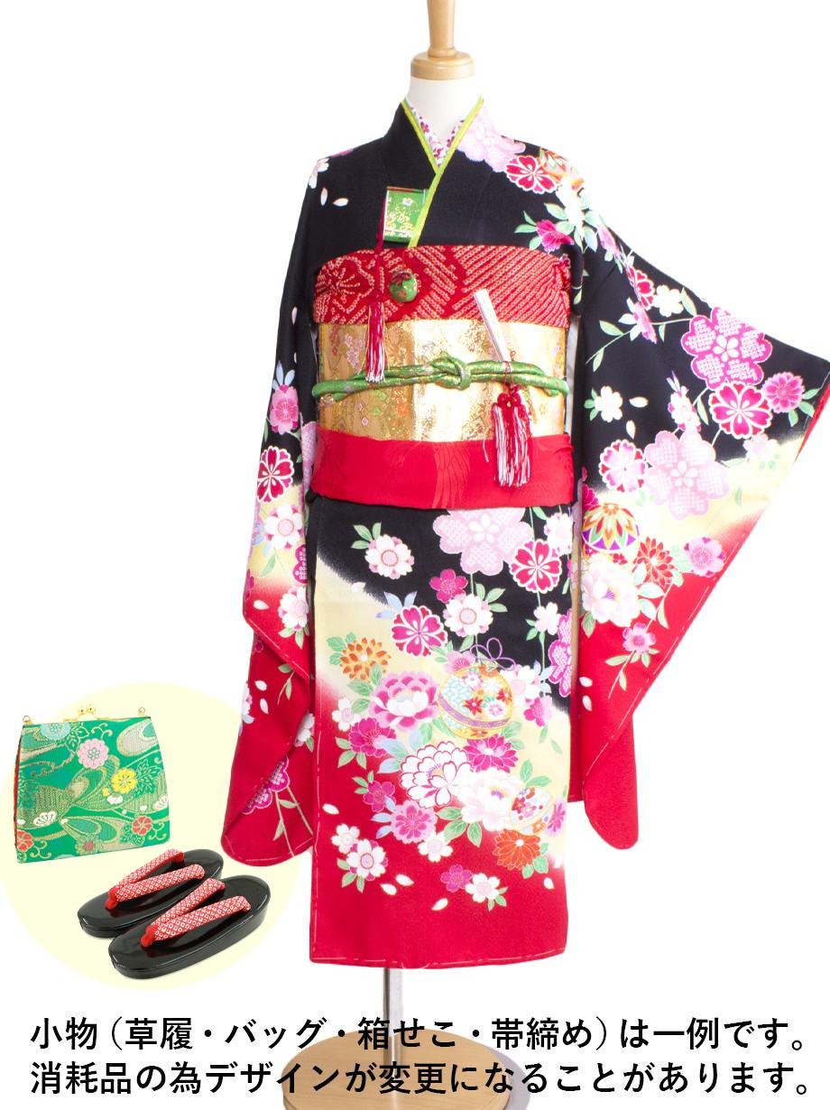 黒色に枝垂れ桜と鈴の着物/七五三・七歳女の子