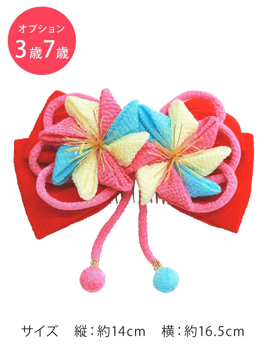 りぼん・ピンクレッド/髪飾り・コームタイプ