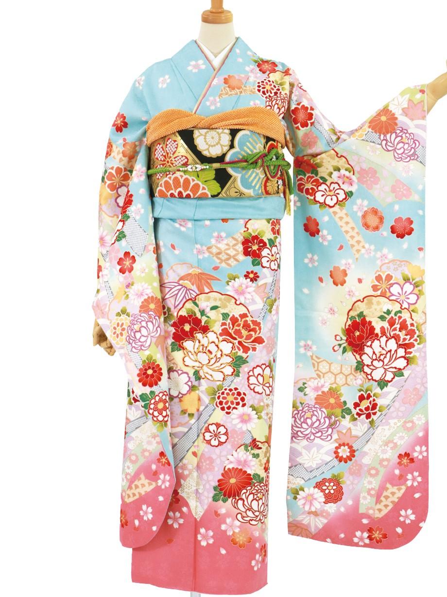 水色地に雪輪と牡丹、ピンクの裾取りの振袖/標準サイズ