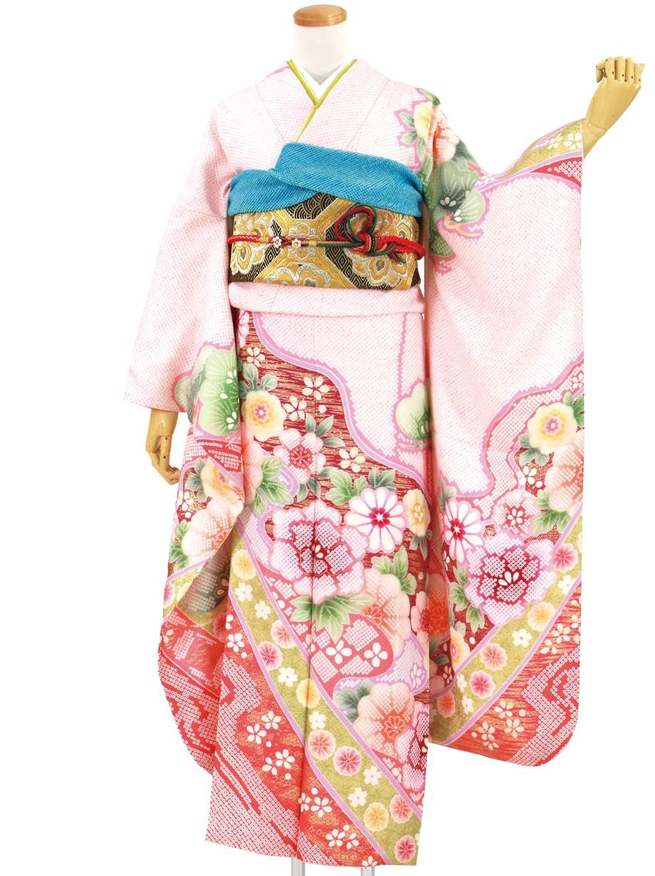 ピンク地に牡丹と疋田の総絞り風の振袖/標準サイズ