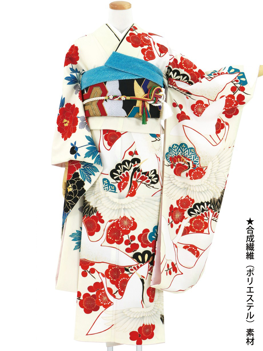 クリーム地に鶴と松梅の振袖/標準サイズ