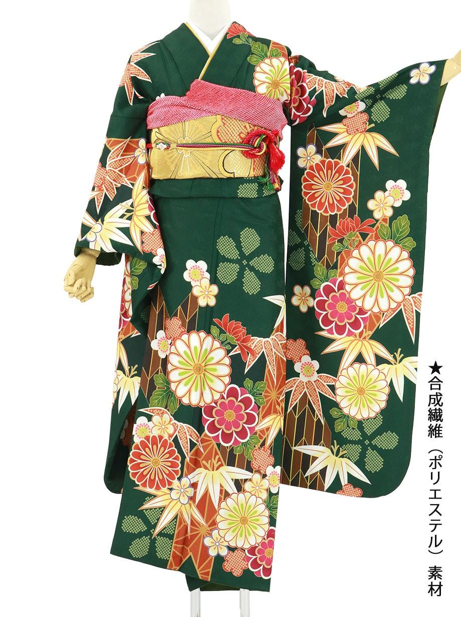 緑地に菊と梅、矢羽の振袖/標準サイズ