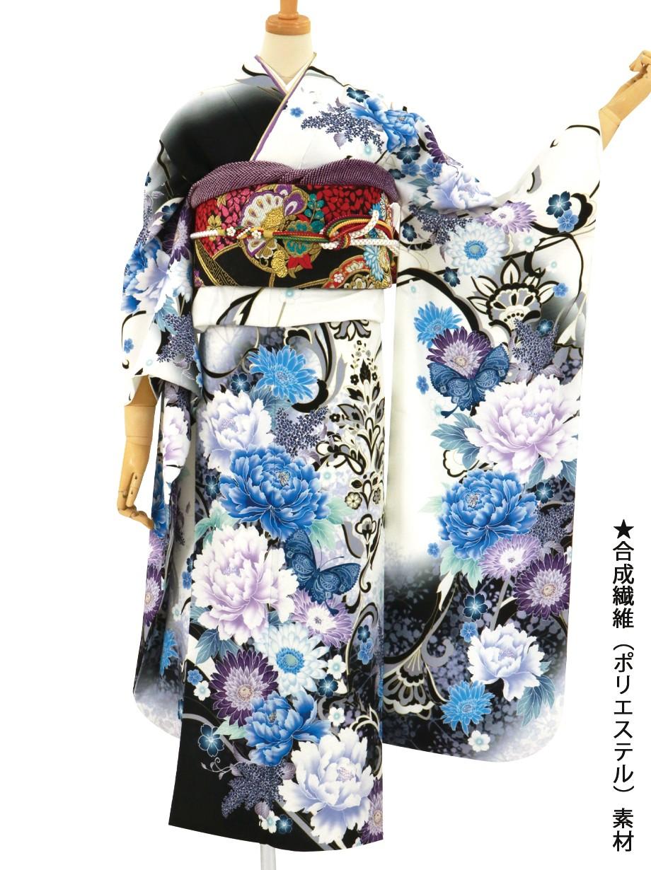 白地に青と紫の牡丹の振袖/標準サイズ