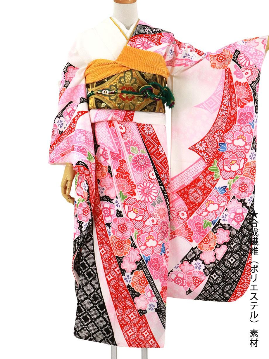 白地にピンクの束ね熨斗の振袖/標準サイズ