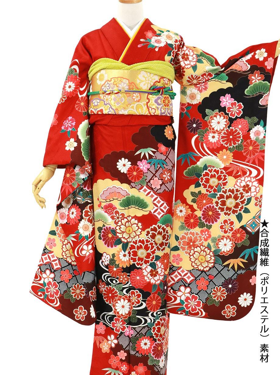 赤地に松竹梅と桜文の振袖/標準サイズ