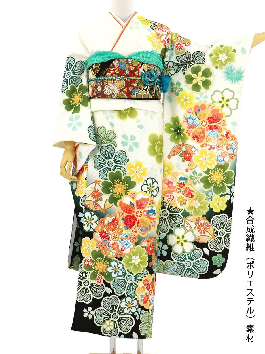 白地に緑の桜文の振袖/標準サイズ