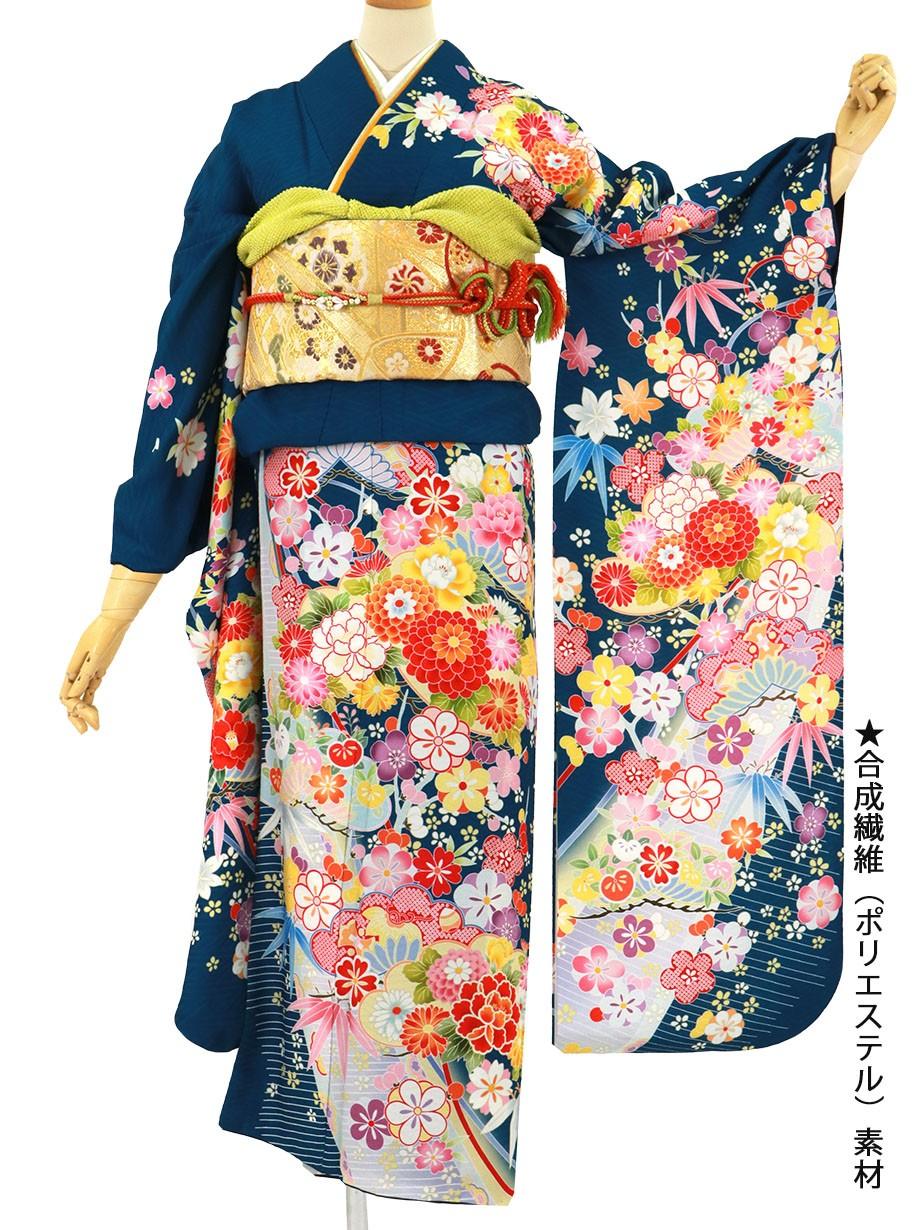 青地に菊や桜の花尽くしの振袖/標準サイズ