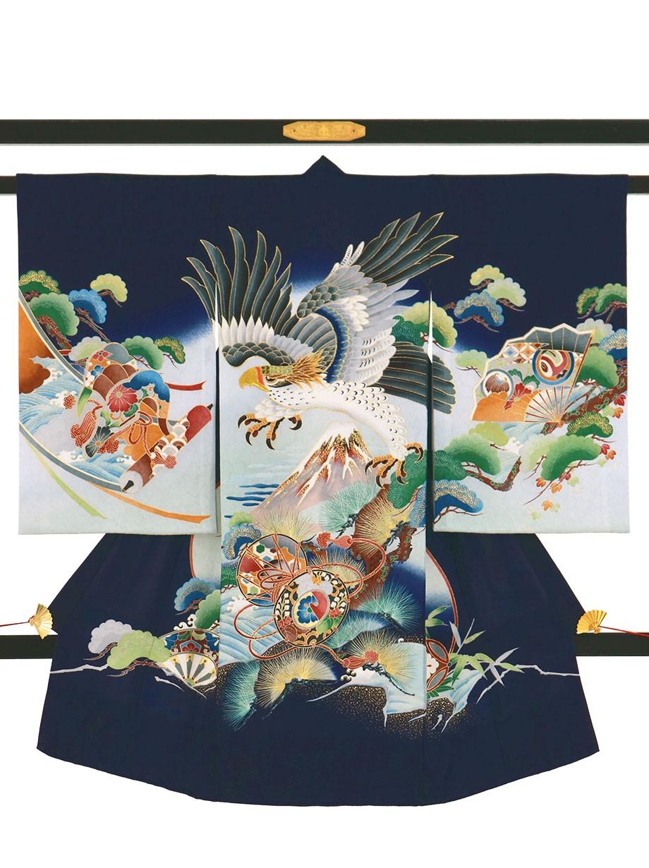 紺地に鷹と富士山の祝い着(産着)/男児
