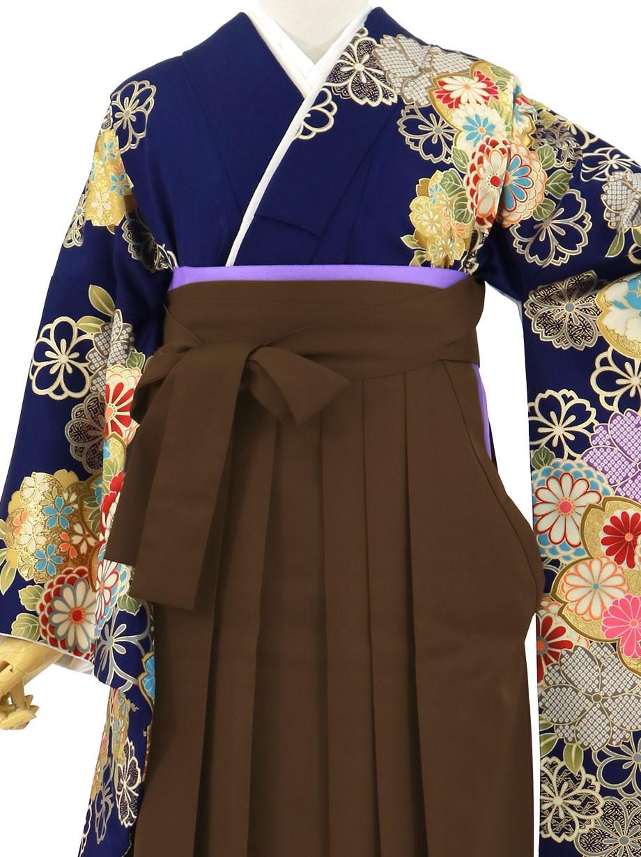 紺地に菊と桜、茶色袴(無地)(二尺袖)/卒業式