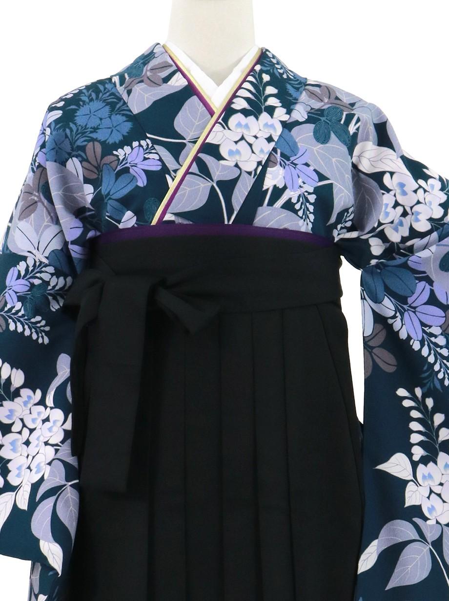 紺地に秋草・黒袴(無地)(二尺袖)/卒業式