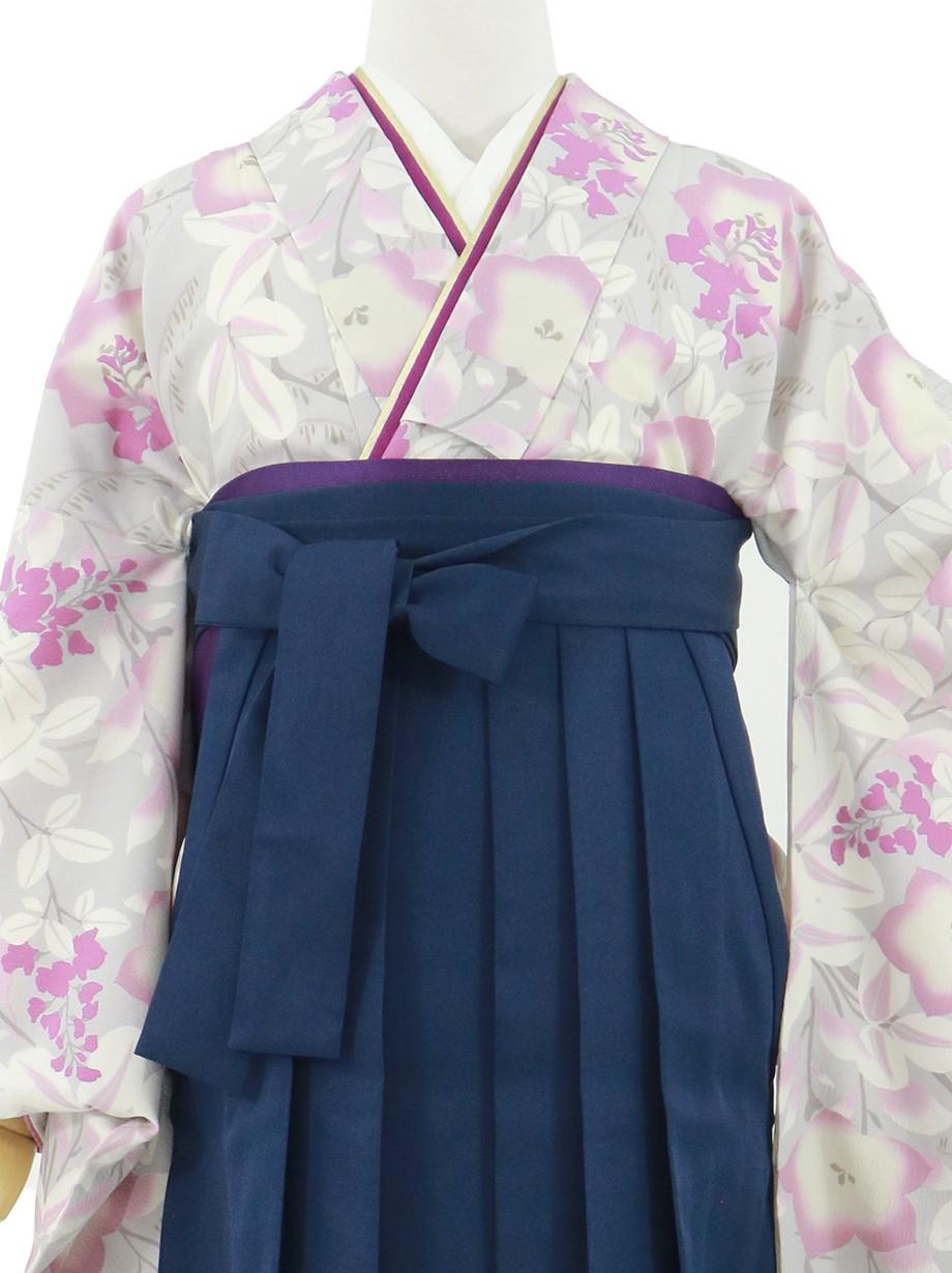 薄グレー地に桔梗、紺袴(無地)(二尺袖)/卒業式