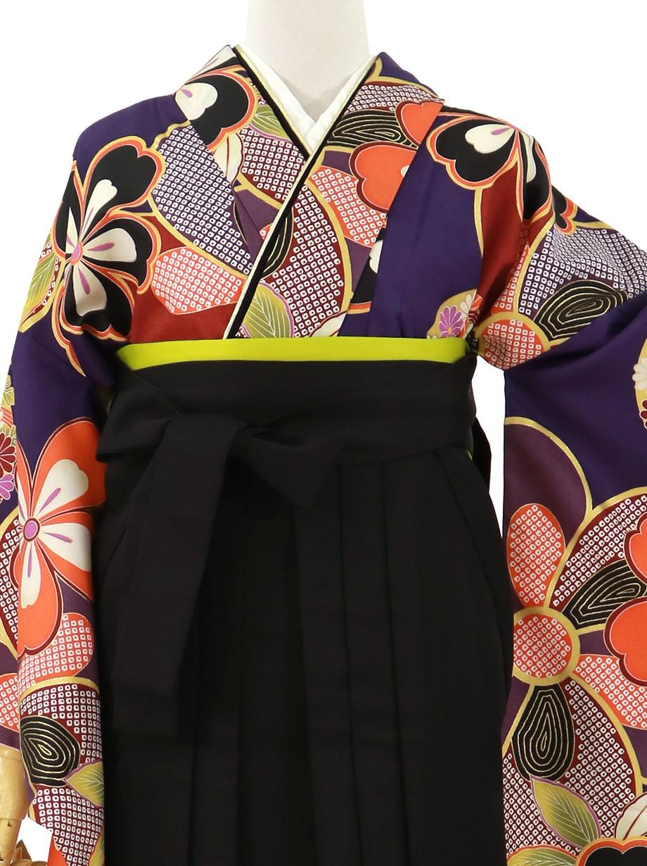 紫地に桜、黒袴(無地)(二尺袖)/卒業式