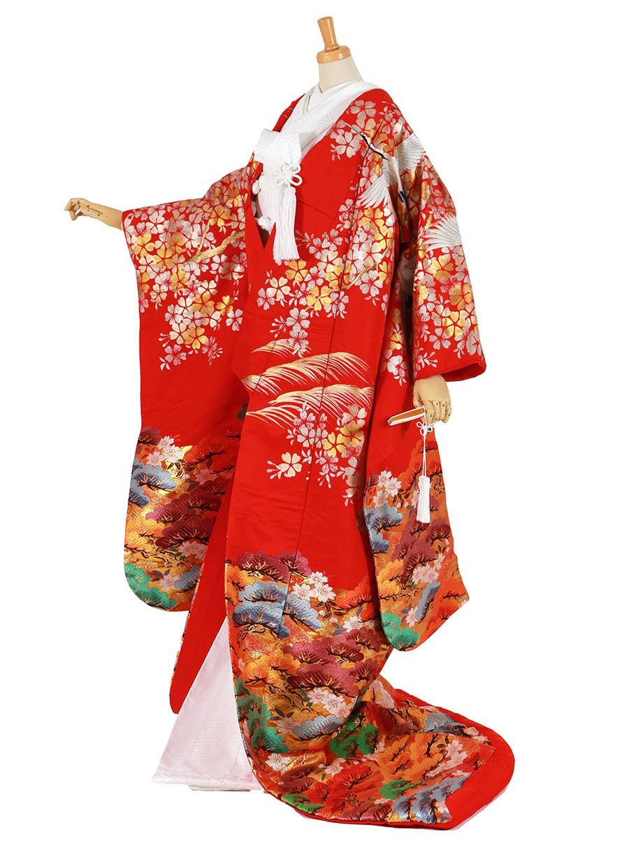 フルセット/赤地に鶴と桜に松づくしの色打掛/標準サイズ